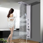 Stainless Steel Shower Panel Tower LED Rain Waterfall W/Massage Bodys System Jet