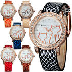 Stylish Cat Pattern Women Round Crystal Dial Quartz Analog Leather Wrist Watch