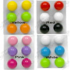 14mm ACRYLIC STUD EARRINGS BRIGHT COLOURS SET OF 3