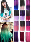Women Girl New Dip Dye / Ombre  Straight Hair Extensions One Piece 5 Clip In