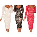 Fashion Lace Long Sleeves Knee-Length Padded Party Club Cocktail Midi Dress
