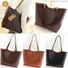 VINTAGE 2-WAY LARGE SHOPPER TOTE BAG Women's Faux Leather Simple Casual Handbag