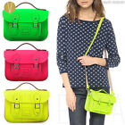 "8.5"" MINI NEON BRITISH REAL GENUINE LEATHER SATCHEL BAG Women's Fluro Handbag"