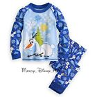 NEW Disney Store Boys Frozen Olaf PJ Pal Pajamas Two Piece Set Long Sleeve Blue
