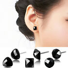 1 Pair Trend Geometric Unisex 925 Silver Black Onyx Ear Stud Earrings Jewelry