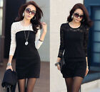 Ideal Sexy Slim Long Sleeve Crew Neck Evening Party Cocktail Lace Mini Dress