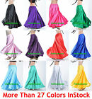L Women Lady Satin Full Circle Belly Dance Skirt Costume Tribal Gypsy 27 Color
