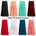 S Women Lady Pleated Chiffon Retro Long Skirt Full Circle Skirt | 25 Colors