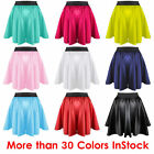 S Women Lady Satin Pleated Retro High Waist Shiny Mini Skirt Boho | 27 Color