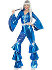 LADIES 1970'S DANCING DREAM BLUE STYLE JUMPSUIT RETRO GLAM DISCO COSTUME