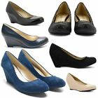 WOMENS LADIES MID WEDGE HEEL CASUAL SMART FORMAL SLIP ON COURT SHOES SIZE