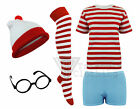Ladies Girls Wendy Wolly Red White Stripe 5 Piece Combo Set Fancy Dress Suit