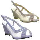 Premium Low Wedge Mesh Evening Party Prom Wedding Peep Toe Size Uk 3 - 8