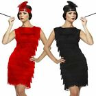 Ladies Black Red Flapper Costume Charleston 20s Gatsby Girl Fancy Dress UK 10-14