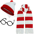 Mens Ladies Red Waldo Wally Hat, Glasses Scarf Book Day Comic Relief Fancy Dress
