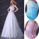 BEADED CORSET GRADUATION MASQUERADE GOWNS LONG PROM FORMAL EVENING PARTY DRESSES