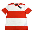 Tommy Hilfiger Mens T-Shirt Crew Neck Red White Striped Pocket Tee Shirt V657