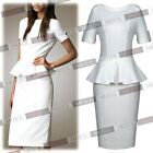 Women's White Formal Cocktail Peplum Skirt Office Party Bodycon Dresses Workwear