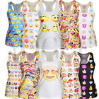 Women's Emoji Tank Tops Vest Blouse Gothic Punk Party Sleeveless T-Shirts Tees