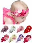 Baby Girls Elastic Lace Rose Flower Rinestone Hairband Headband Hair Head Band