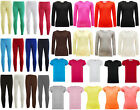 Girls Plain Legging Kids Long Sleeve Top & Short Sleeve T-Shirts Girls Top 2-13Y