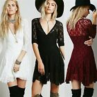 Womens V-neck 3/4 Sleeve Cinched Waist Cocktail Party Lace Fit Flare Mini Dress