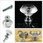 1/2/6/8/10 Diamond Crystal Glass Clear Handle Door Cabinet Drawer Knobs 30mm Set