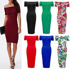 Ladies Plain Jersey Off Shoulder Bodycon Womens Long Midi Bardot Dress Size 8-22