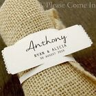 Personalised White Napkin Ring Wedding Place Cards