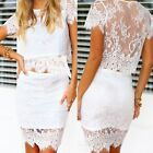 2pcs Women Top Skirt Bandage Bodycon Lace Evening Sexy Party Cocktail Mini Dress