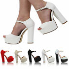 WOMENS LADIES ANKLE STRAP PLATFORM CHUNKY HIGH HEEL PEEP-TOE SHOES SIZE 3-8