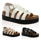Womens Gladiator Strappy Ladies Open Toe Summer Platform Sandals Shoes Size 3-8