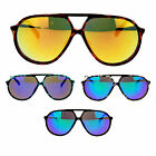 Mens Retro Racer Thin Plastic Frame Color Mirror Lens Aviator Sunglasses