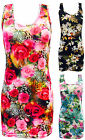 Ladies Sleeveless Mini Floral Dress Womens Butterfly Printed Longline Vest Top