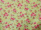 Pink roses / green background Vintage Retro 100% cotton Fabric material