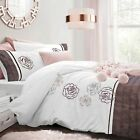PolyCotton Sequin Floral Quilt Cover Bedding Set & Pillowcase Single Double King