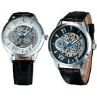 New Fashion Success Men Retro Automatic Mechanical Carve Watch Leather Strap