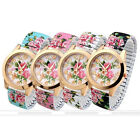 1pc Round Case Flower Floral Stretchy Quartz Analog Wristband Womens Watch Gift