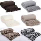 Alice Zig Zag Waves Or Plain Knitted Woven Throw Over Picnic Soft Cosy Blanket