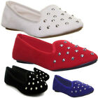 11005 Womens Pump Shoes Slip On Flat Sole Round Toe Studd Ladies Fashion Balleri