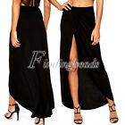 Women Sexy Casual Club Classic Black Cotton Long Maxi Skirt Dress with Slit FB