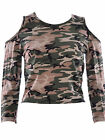 Women Ladies Shoulder Cut Out Camouflage Army  Print Crop Top