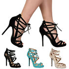 New Womens Cut Out Stappy Ladies Lace Up Stiletto Heel Sandals Shoes Size 3-8