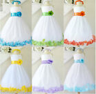 Gorgeous White turquoise blue lilac orange rose petals flower girl party dress