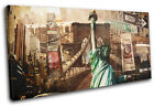 New York Vintage Collage City SINGLE CANVAS WALL ART Picture Print VA