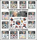 DISNEY CARTOON CHARACTER TEMPORARY TATTOOS Brand New Fully Sealed 32 To Choose