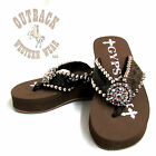 Gypsy Soule CW-Tatum Embellished Flip Flop in Brown