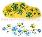 F08 - Pretty Blue Flower Leaf Vine on Ceramic Decals, 2 sizes to choose from image