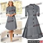 Vintage Style Checked Skater/Swing Dresses 8102468 New Black White Look Festival
