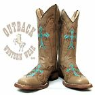 Circle G by Corral Turquoise Cross Square Toe Boots L5106